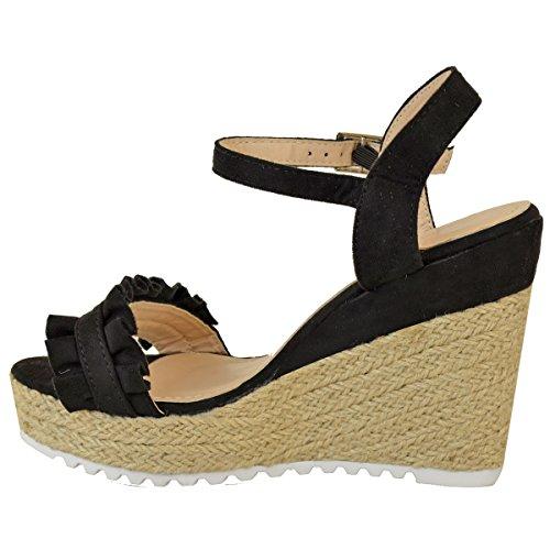 Fashion Thirsty Sandales Compensées à Volants - Espadrilles à Talon Haut/Bride - Été - Femme Faux suède noir/doux/boho-chic