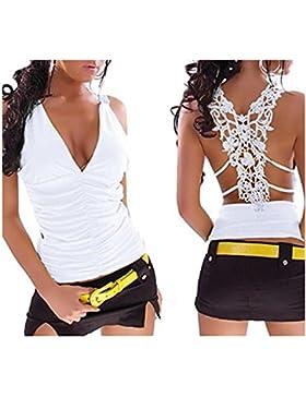 Fanessy Mujer Camiseta Tirantes Blusa sin Mangas Casual Chaleco de Verano V-cuello Cordón Atractivo Camisola Hueco