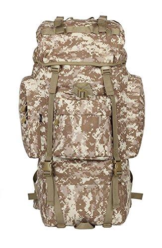 Outdoor Rucksack große Kapazität camouflage Bergsteigen Taschen Rucksack, schwarz, 100L mit Wasserdichte Haube (G) 65 L mit Wasserdichte Haube