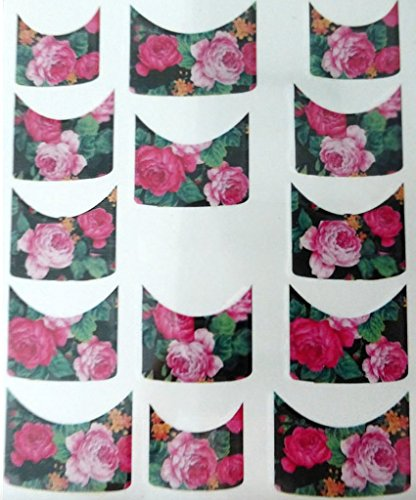 Nail art manucure stickers ongles scrapbooking: 14 décalcomanies motifs roses romantiques