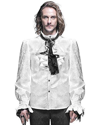 Devil Fashion Mens-Gotik Hemd weiß Steampunk Regentschaft Aristocrat + Krawatte - Weiß, Weiß,...
