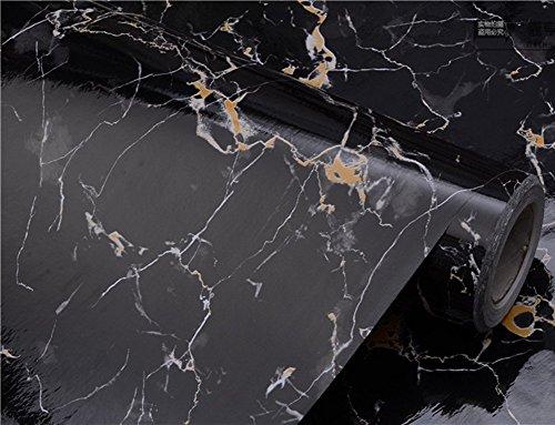 Granite Noir Aspect marbre brillant Film vinyle autocollant Comptoir Peel et Stick Sticker mural 30,5x 200,7cm