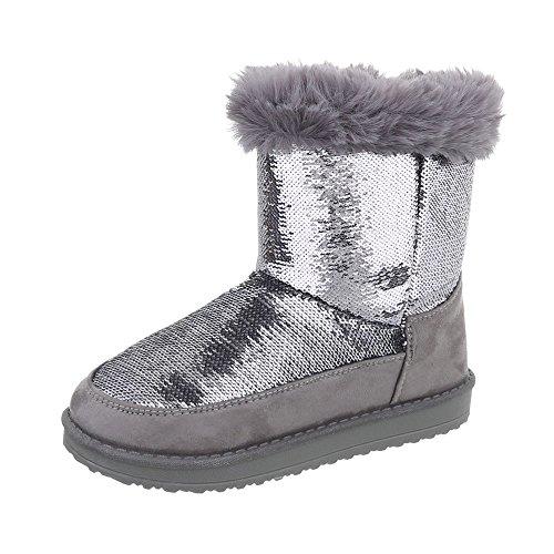 er-Schuhe Klassischer Stiefel Mädchen Ital-Design Stiefeletten Silber, Gr 28, P-9- (Silber-kinder Stiefel)