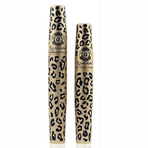 Vococal® 2 Pcs Maquillage Allongement Leopard Imprimer Les Fibres Naturelles 3D Transplantation Gel Mascara Lash-Outil Pinceau Cils Extension