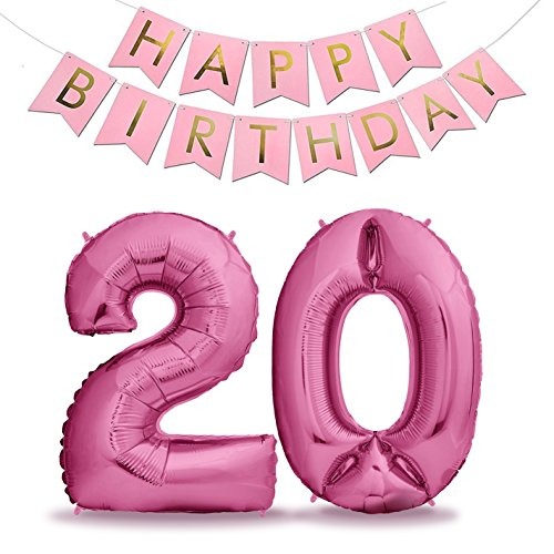 XXL Folien-Luftballons 20 Pink + Happy Birthday Girlande | Riesen Zahlen-Luftballons | 40