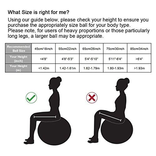 Trideer Robuster Gymnastikball Sitzball Pezziball von 45cm 55cm 65cm 75cm & 85cm inkl. Ballpumpe - 2