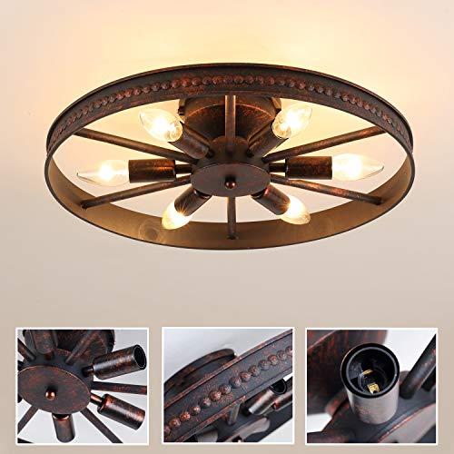 Retro Lámpara de techo Hierro Vendimia Industrial Rústico Lámparas de araña Redondo Diseño Metal Antiguo Plafón para Sala Comedor Cocina Desván Bar tienda Iluminación D46cm 6 * E14 Max 40W,Rojo óxido
