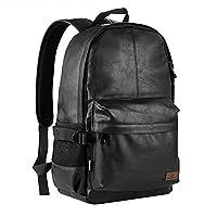 Koolertron Vintage Synthetic Leather Laptop Backpack Laptop Bag Hiking Camping Travel Rucksack Unisex Satchel School Bags Casual Daypack (Black)