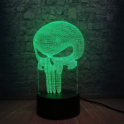SFALHX New Tooth Skull 3D LED Lampe Halloween Punisher Mood Bunte Scared Theme Haunted House Decor Nachtlicht Bühnenbeleuchtung