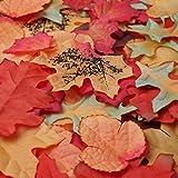 Luxbon 100 Stück künstliche Herbst Ahornblätter Wandbild Türschild Hochzeit Party Deko verschiedene Farben und Größen - 2