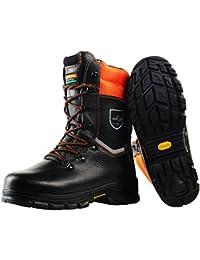 Schnittschutzstiefel  Klasse 1 WOODSafe® S3 schwarz/orange - Forststiefel kwf-geprüft Größe 45