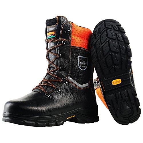 WOODSafe Stivali antitaglio Classe 1 S3forestale Stivali KWF (Approvato) Nero/Arancione Taglia 10