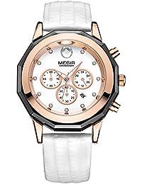 Reloj de pulsera para mujer 2042Cronógrafo correa de cuero cuarzo relojes con fecha manecillas de color blanco
