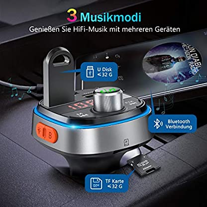 OMORC-FM-Transmitter-Auto-Bluetooth-Deep-Bass-PD30-fr-KFZ-Adapter-Auto-3-USB-Ladegert-Transmitter-Freisprecheinrichtung-mit-MikrofonBluetooth-V507-Farbe-LED-BacklitU-DiskTF-Karte