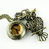 Steampunk Pocket watch Necklace pirate Gothic Victorian pendant charm with Gemstone Vintage hollow out Owl SET