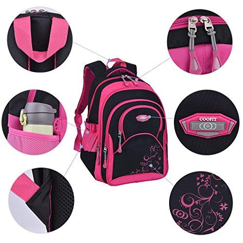 Schulrucksack Maedchen,COOFIT Mädchen Schulrucksack Rucksäcke Schulranzen Schultasche Tasche Travel Sport Outdoor Rucksack für Schüler (Coofit Design Rose) - 4