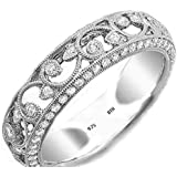 Ladies Ring-925 Sterling Silver Ladies Luxury Unique Wedding Engagement filigree Cubic Zirconia Band Ring- With A Luxury Gift Box