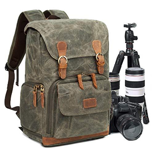 UBaymax Kamerarucksack Kameratasche, Wasserdicht Canvas Leinenstoff und Echt-Leder DSLR Rucksack, 15,6 Zoll Laptop Rucksack, Fotorucksack für Kamera Zubehör und Outdoor Sport Reise, Armeegrün