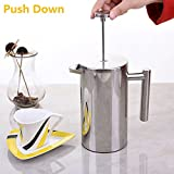 Deals Mart French Press Coffee Maker Double Wall Stainless Steel Coffee Tea Pot With Coffee Filter Baskets Cafetiere Insulated Percolator