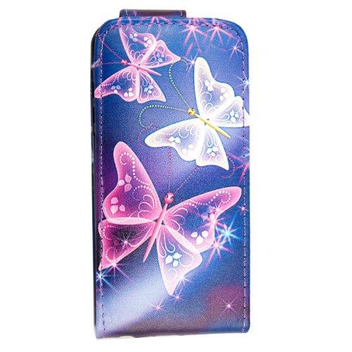 Flip Case für iPhone 5 und iPhone 5s aus PU-Leder, verschiedene Motive, gratis Eingabestift Ultra Butterfly Blue