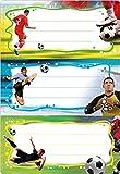 Herma 5588 Buchetiketten Schule, Motiv Fussball, Inhalt: 6 Schuletiketten für Schulhefte, Format 7,6 x 3,5 cm, beglimmert