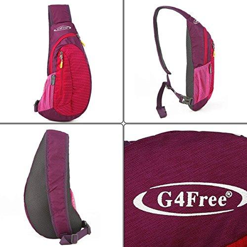 G4FREE leggero petto Sling spalla zaini borse moda carino Crossbody triangolo zaino per escursionismo, ciclismo, viaggi o multiuso Daypacks, Red rosso - rosso