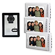 "Amocam 1-Camera 3-LCD Monitor 7"" Video DoorPhone Video Intercom Home Doorbell System IR Night Vision 2-way Hands Free intercom Access Control"
