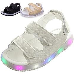 LED Bambini Sandali, Chickwin Unisex Primavera Estate Comfort PU Gomma Antiscivolo Casual Tacco Piatto LED Luminoso Sandali Toddler Kids Light scarpe da Spiaggia Lampeggiante (29, Bianco)