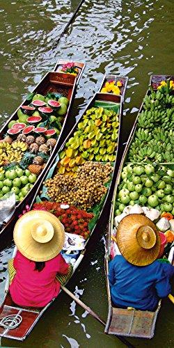 Artland Qualitätsbilder I Glasbilder Deko Glas Bilder 50 x 100 cm Ernährung Genuss Lebensmittel Obst Foto Grün A6KN Schwimmender Markt in Bangkok