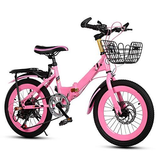 Axdwfd Kinderfahrräder Kinderfahrräder 18/20 Zoll, Kinderfahrrad aus Kohlenstoffstahl mit Trainingsrad Geschenk für 5-11 Jahre alte Jungen und Mädchen (Farbe : Pink, größe : 18in)