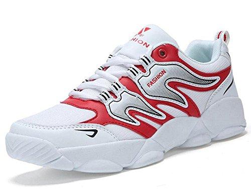 SHIXR Chaussures de sport pour hommes Chaussures de course pour hommes légers pour hommes Chaussures de sport pour chaussures respirantes white red