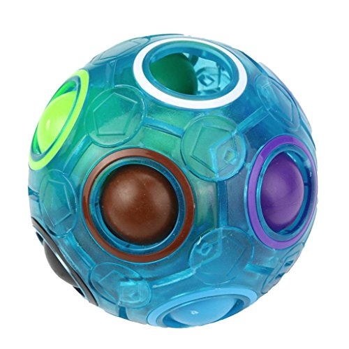 Fun Erwachsene Spielzeug Kugel Für (Omiky® Luminous Stress Reliever Magic Rainbow Ball Fun Cube Fidget Puzzle Ausbildung Spielzeug für Kinder / Erwachsene (Blau))
