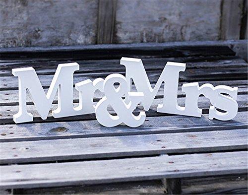 Allbusky Herr und Frau Zeichen Geschenk Hölzerne Buchstaben für Empfang Zeremonie Hochzeit Dekorationen Gegenwart (Mr & Mrs)