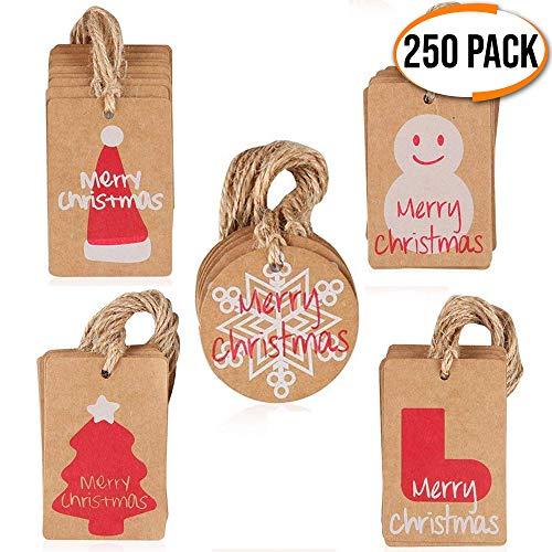 The Twiddlers 250 Papel Etiquetas Navidad - 6 Diseños