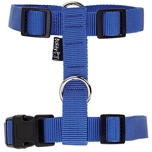 bunty-adjustable-nylon-dog-puppy-fabric-harness-vest-anti-non-pull-lead-leash-blue-medium
