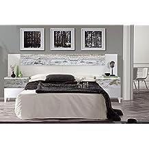 Cabezal cama de matrimonio + 2 mesitas de noche estilo vintage, color blanco brillo y decapé
