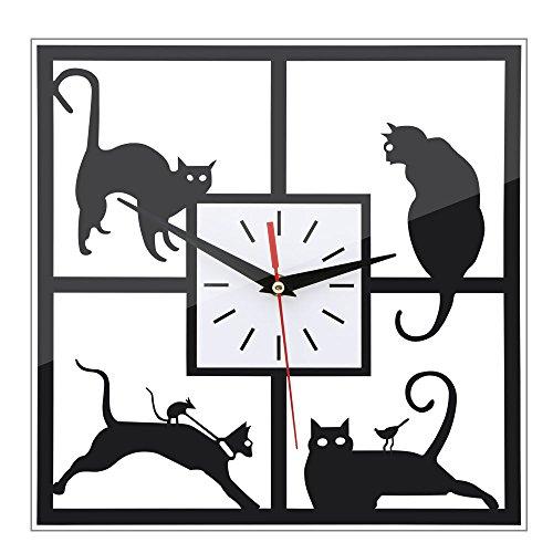 URAQT Gato Negro 3D Decorativo Reloj de Pared Reloj de Espejo del Reloj del Reloj de Cuarzo Sala de Estar
