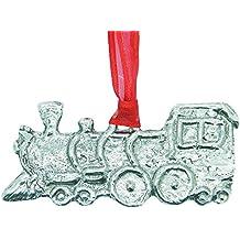 Lujosa decoración navideña de un tren en peltre moldeado a mano, con cinta de organza de color rojo, verde, azul o morado