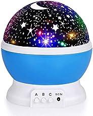 Kids Star Night Light, Baby Night Light Moon Star Projector 360-Degree Rotating Star Projector, Desk Lamp 4 LE