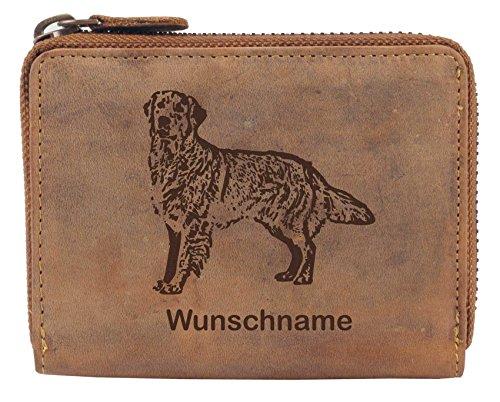 Greenburry Damen-Geldbörse PERSONALISIERT Wunschnamen mit Hunde-Motiv Golden Retriever, Leder Damen-Börse in Braun -