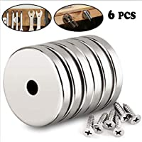 Orlegol Neodym Magnete, Neodym Disc Magnete Extra Starker Rare Earth Magnet mit Schraube Loch Magnete Runder Groß für Handwerk, DIY, Gebäude, Wissenschaftliche - 6 Stück