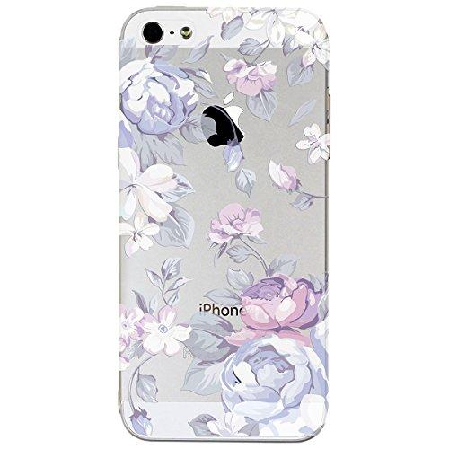 iPhone 5 / 5s / SE Hülle, Yokata PC Hart Case mit Weich Silikon Bumper Blumen Motif Schale Transparent Durchsichtig Dünn Case Schutzhülle Protective Cover - Spitze Lila
