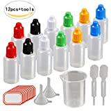 Dropper Bottles,KAKOO 12 Pcs 30ml Plastic Squeezable Liquid Bottle with Childproof Cap,Thin Tip,Funnel,Measuring Cup,Pipette for E-liquids DIY Craft