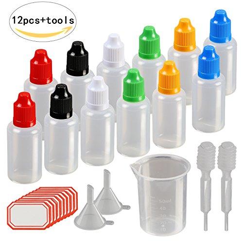 17tlg Tropfflasche Set,KAKOO 12x 30ml Leer Plastikflaschen Dosier-Flaschen Liquidflaschen Kindersicherung Deckel in Bunt mit Trichter...
