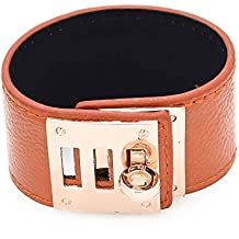Bracelet Cuir Manchette fermoir doré Kelly en cuir marron