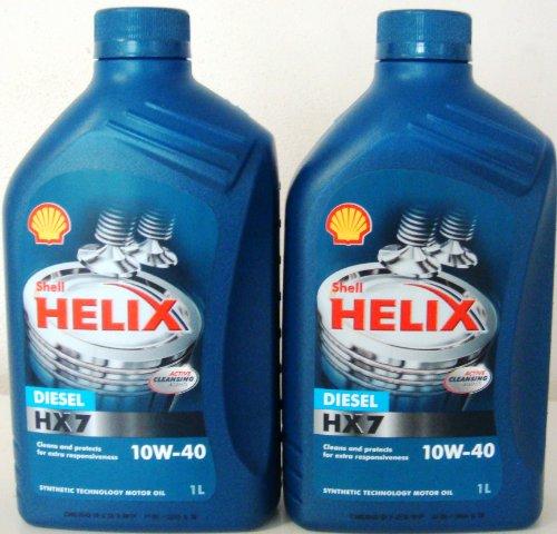 Shell Helix Diesel HX7 10w40 Olio Motore Diesel Semisintetico API CF ACEA A3/B3/B4 2 barattoli da 1 Litro =2 Litri (Euro/lt 7,50)