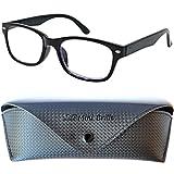 Modische Blaulichtfilter Lesebrille   Unisex Blaulichtbrille mit transparenten Gläsern   GRATIS Etui   Kunststoff Rahmen (Schwarz)   Anti Blaulicht Brille   +1.0 Dioptrien