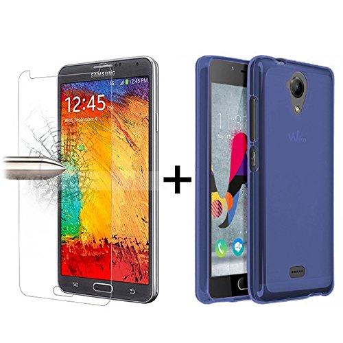 TBOC® Pack: Blau Gel TPU Hülle + Hartglas Schutzfolie für Wiko U Feel Lite - Ultradünn Flexibel Silikonhülle. Panzerglas Displayschutz in Kristallklar in Premium Qualität.