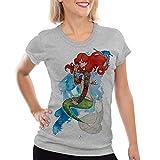 style3 Arielle TATTOO Damen T-Shirt meerjungfrau biker motorrad punk rock, Farbe:Grau meliert;Größe:M