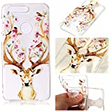 Huawei Honor 8 Coque,Cozy Hut® Huawei Honor 8 Case Cover Back Cover TPU Transparent Flex Cas Silicone Shock-Absorption Bumper et Anti-Scratch Effacer Skin Protection Arrière Premium pour Huawei Honor 8 5.2 pouces - Sika Deer